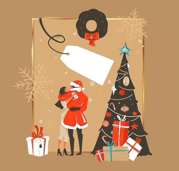 Dibujado a mano feliz navidad y feliz año nuevo tiempo ilustraciones de dibujos animados plantilla de tarjeta de felicitación con pareja besándose y árbol de navidad con regalos aislados