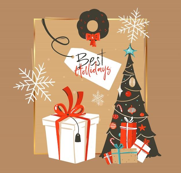 Dibujado a mano feliz navidad y feliz año nuevo tiempo vintage coon ilustraciones plantilla de tarjeta de felicitación con árbol de navidad, caja de regalo y texto de tipografía sobre fondo marrón