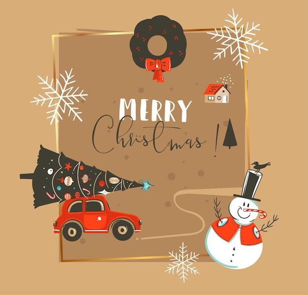 Dibujado a mano feliz navidad y feliz año nuevo tiempo vintage dibujos animados ilustraciones plantilla de tarjeta de felicitación con coche, árbol de navidad, muñeco de nieve y texto de tipografía aislado