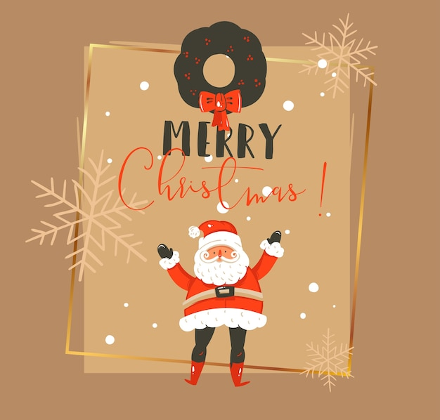 Dibujado a mano feliz navidad y feliz año nuevo tiempo vintage dibujos animados ilustraciones plantilla de tarjeta de felicitación con santa claus, corona de muérdago y tipografía aislada