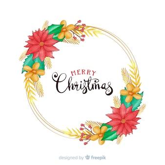 Dibujado a mano feliz navidad con hermosas flores
