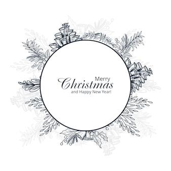 Dibujado a mano feliz navidad tarjeta de adorno de invierno