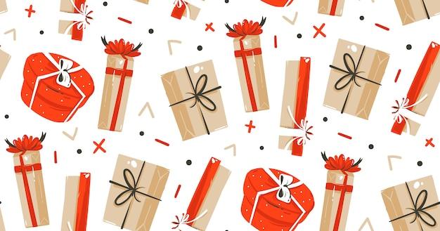 Dibujado a mano feliz navidad tiempo dibujos animados ilustraciones de patrones sin fisuras