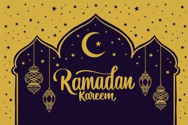 Dibujado a mano feliz ramadan kareem luna en la noche