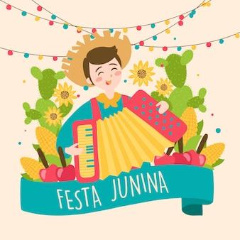 Dibujado a mano festa junina brazil june festival. vacaciones folklóricas.