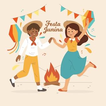 Dibujado a mano festa junina danza y felicidad