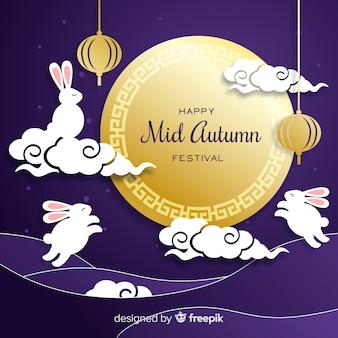 Dibujado a mano festival de mediados de otoño en papel