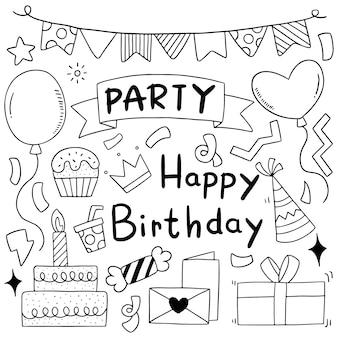Dibujado a mano fiesta doodle feliz cumpleaños adornos fondo patrón ilustración