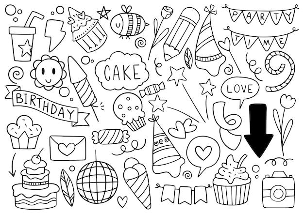 Dibujado a mano fiesta doodle feliz cumpleaños adornos patrón de fondo ilustración vectorial