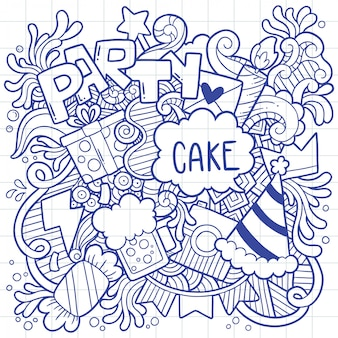 Dibujado a mano fiesta doodle feliz cumpleaños adornos