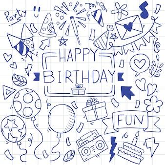 Dibujado a mano fiesta doodle feliz cumpleaños patrón ilustración