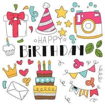 Dibujado a mano fiesta doodle feliz cumpleaños.