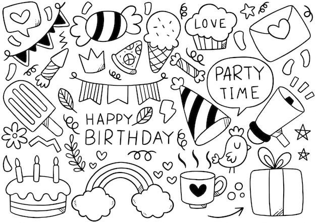 Dibujado a mano fiesta doodle feliz cumpleaños