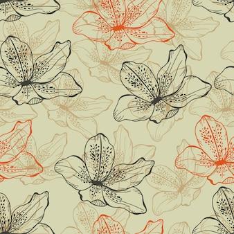 Dibujado a mano sin fisuras boceto azalea patrón de fondo