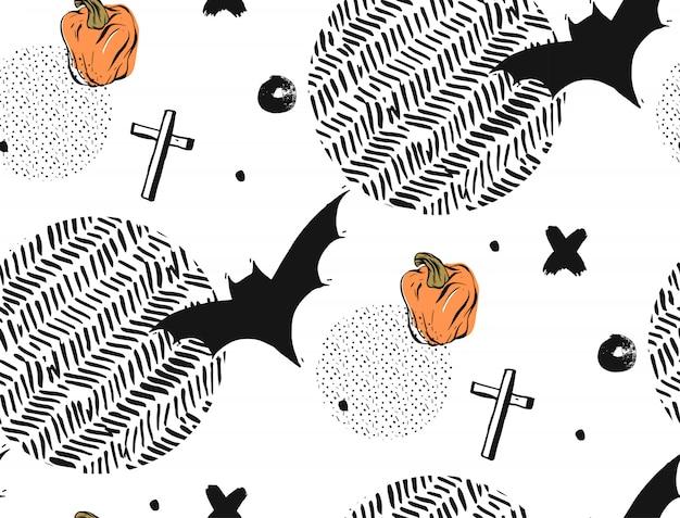 Dibujado a mano sin fisuras patrón abstracto con textura de halloween con murciélagos, cruces y calabazas. sobre fondo blanco con lunares redondos y texturas en zig zag.