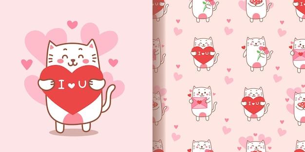 Dibujado a mano sin fisuras patrón de dibujos animados lindo gato para el día de san valentín.