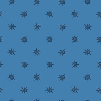 Dibujado a mano sin fisuras patrón náutico con adorno de timón de barco pequeño. fondo azul. impresión del mar de aventuras. diseñado para diseño de tela, estampado textil, envoltura, funda. ilustración vectorial.