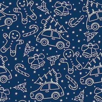 Dibujado a mano sin fisuras patrón de navidad en estilo doodle