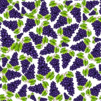 Dibujado a mano sin fisuras uvas naturales orgánicas frutas patrón dibujado a mano ilustración vectorial