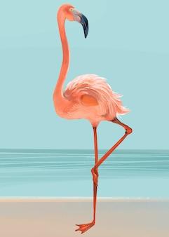 Dibujado a mano flamenco rosa