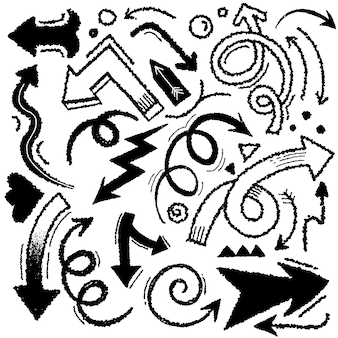 Dibujado a mano flecha conjunto colección estilo grunge