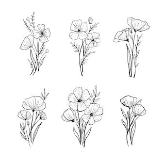 Dibujado a mano flor boda follaje ornamento set colección