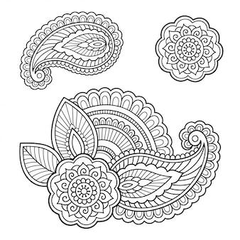 Dibujado a mano flor de henna.