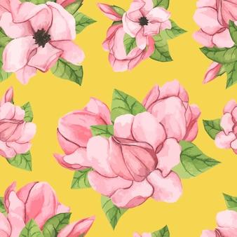 Dibujado a mano flor de magnolia platillo aislado