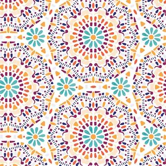 Dibujado a mano flor mandala de patrones sin fisuras