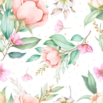 Dibujado a mano floral acuarela de patrones sin fisuras