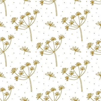 Dibujado a mano floral doodle de patrones sin fisuras