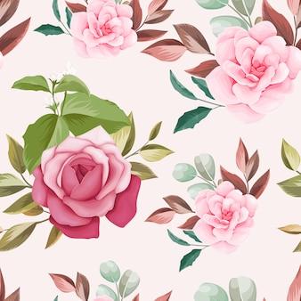 Dibujado a mano floral y hojas de diseño de patrones sin fisuras