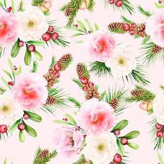 Dibujado a mano floral navidad de patrones sin fisuras