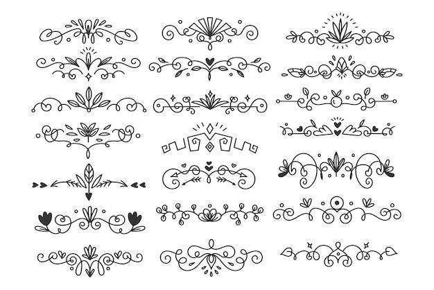 Dibujado a mano florece la ilustración de vector de divisor