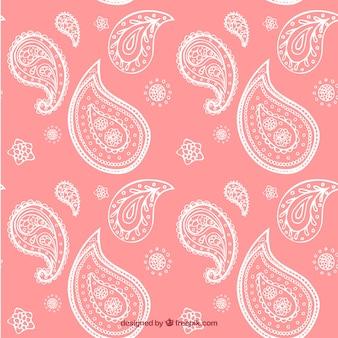 Dibujado a mano de flores de color rosa formas de patrón