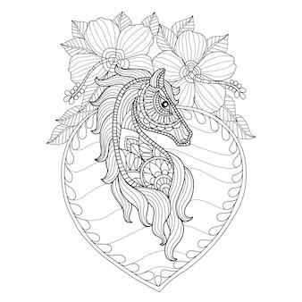 Dibujado a mano flores de hibisco y caballo