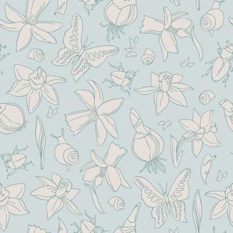 Dibujado a mano flores ligeras de patrones sin fisuras