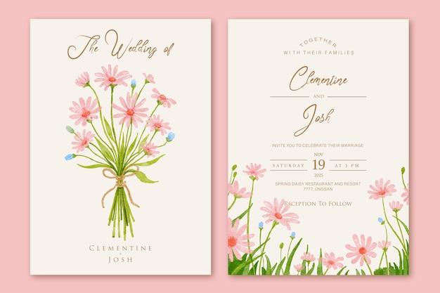 Dibujado a mano flores rosadas mano ramo conjunto plantilla de invitación de boda