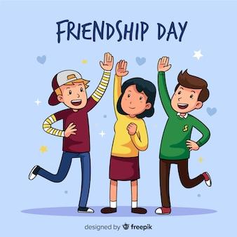 Dibujado a mano fondo de amistad día