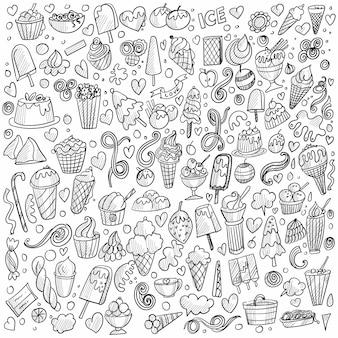 Dibujado a mano fondo de conjunto de doodle de helado