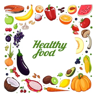 Dibujado a mano fondo de frutas y verduras