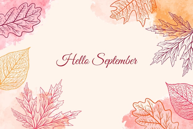Dibujado a mano fondo hola septiembre