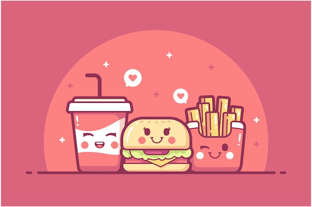 Dibujado a mano fondo de ilustración de personaje de comida rápida