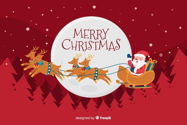 Dibujado a mano fondo de navidad con santa claus librando trineo