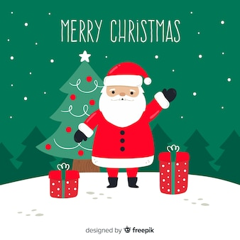 Dibujado a mano fondo de navidad con santa claus y regalos