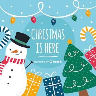 Dibujado a mano fondo de navidad