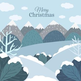 Dibujado a mano de fondo de paisaje de invierno
