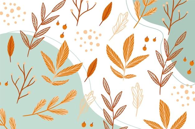 Dibujado a mano fondo de pantalla de otoño con hojas