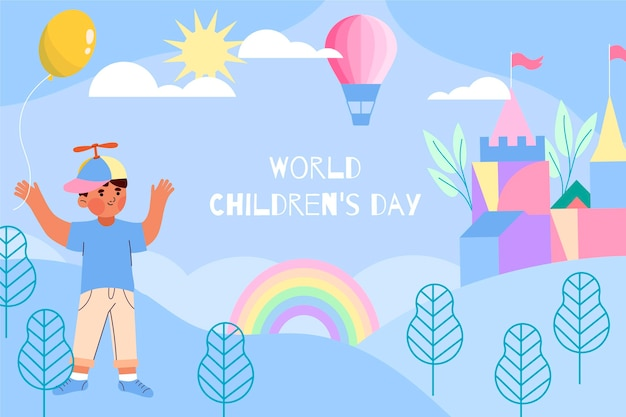 Dibujado a mano fondo plano del día mundial del niño