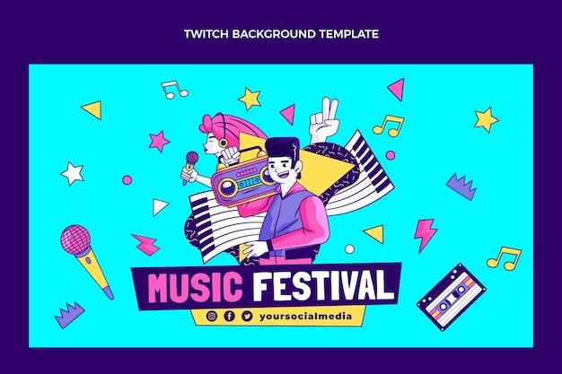 Dibujado a mano fondo de twitch festival de música nostálgica de los 90